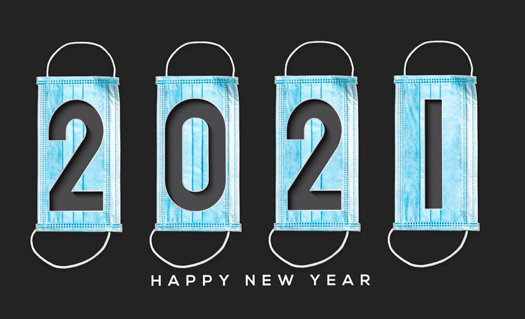 2021 spelled out in masks happy new year message